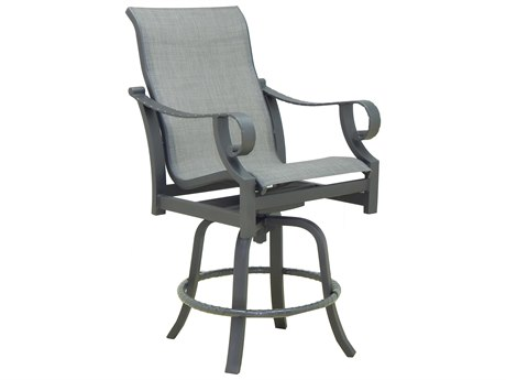 Castelle Sonesta Sling Dining Cast Aluminum High Back Swivel Counter Stool