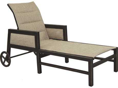 Castelle Gold Coast Sling Aluminum Adjustable Chaise Lounge with Wheels