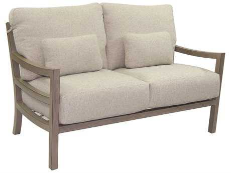 Castelle Roma Deep Seating Aluminum Loveseat with Two Throw Pillows