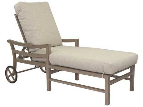 Castelle Roma Cushion Aluminum Adjustable Chaise Lounge with Wheels