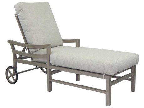 Castelle Roma Cushion Aluminum Adjustable Chaise Lounge with Wheels