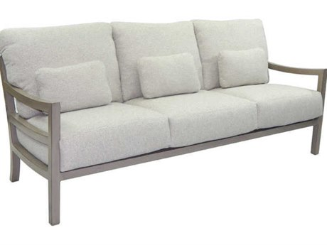 Castelle Roma Deep Seating Aluminum Sofa with Three Throw Pillows PatioLiving