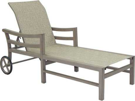 Castelle Roma Sling Aluminum Adjustable Chaise Lounge with Wheels