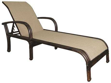 Castelle Meridian Sling Aluminum Adjustable Chaise Lounge with Wheels