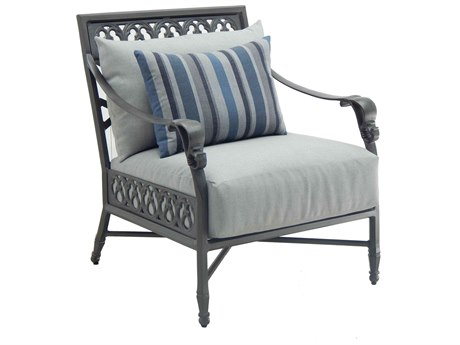 Castelle Biltmore Estate Deep Seating Cast Aluminum Lounge Chair with One Accent Pillow PatioLiving