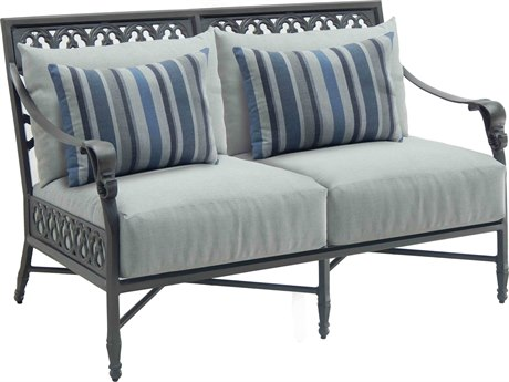 Castelle Biltmore Estate Deep Seating Cast Aluminum Loveseat with Two Pillows PatioLiving