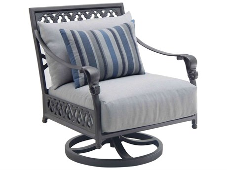 Castelle Biltmore Estate Deep Seating Cast Aluminum Lounge Swivel Rocker with One Accent Pillow PatioLiving