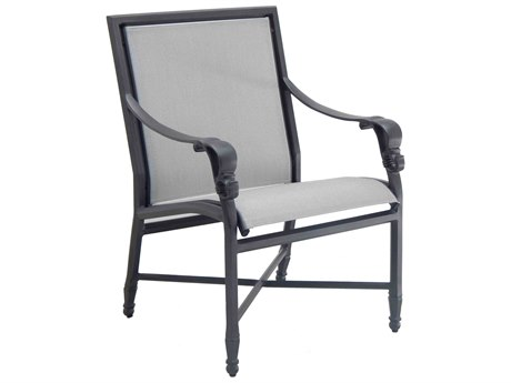 Castelle Biltmore Estate Sling Cast Aluminum Dining Arm Chair PatioLiving