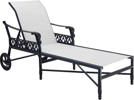 Castelle Biltmore Estate Sling Cast Aluminum Adjustable Chaise Lounge PF9A92