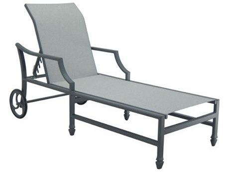 Castelle Lancaster Sling Aluminum Adjustable Chaise Lounge with Wheels PatioLiving