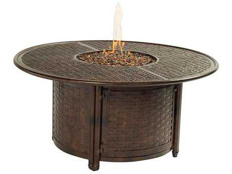 Castelle Coco Isle Cast Aluminum 49 Round Coffee Table with Firepit and Lid