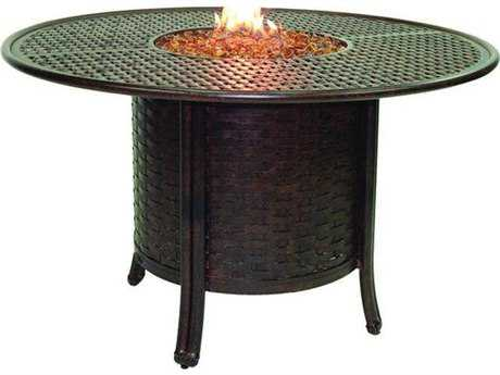 Castelle Coco Isle Cast Aluminum 49 Round Dining Table With Firepit And Lid