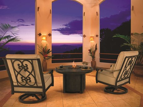 Castelle Bellanova Deep Seating Cast Aluminum Firepit Lounge Set PatioLiving