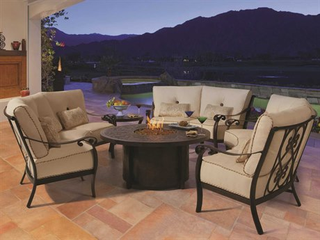 Castelle Bellanova Deep Seating Cast Aluminum Firepit Set