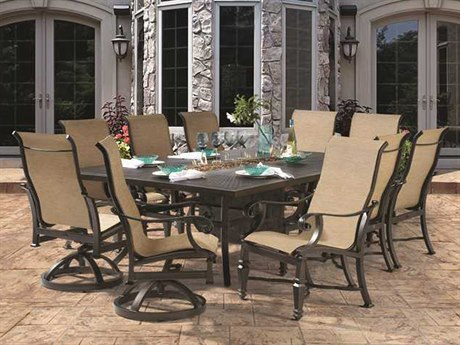 Castelle Bellagio Sling Cast Aluminum Dining Set