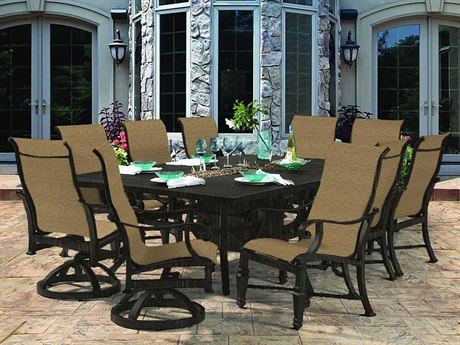 Castelle Bellagio Sling Cast Aluminum Fire Pit Dining Set