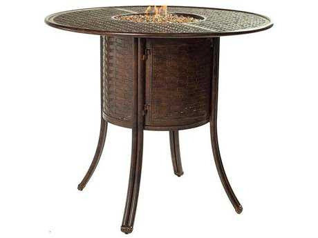 Castelle Coco Isle Cast Aluminum 49 Round Bar Table with Firepit and Lid
