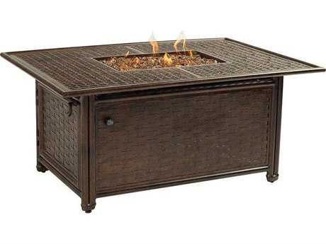 Castelle Coco Isle Cast Aluminum 50-52W x 33.5-36D Rectangular Coffee Table with Firepit and Lid