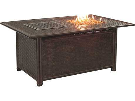 Castelle Coco Isle Cast Aluminum 50-52W x 34-36D Rectangular Coffee Table with Firepit and Lid