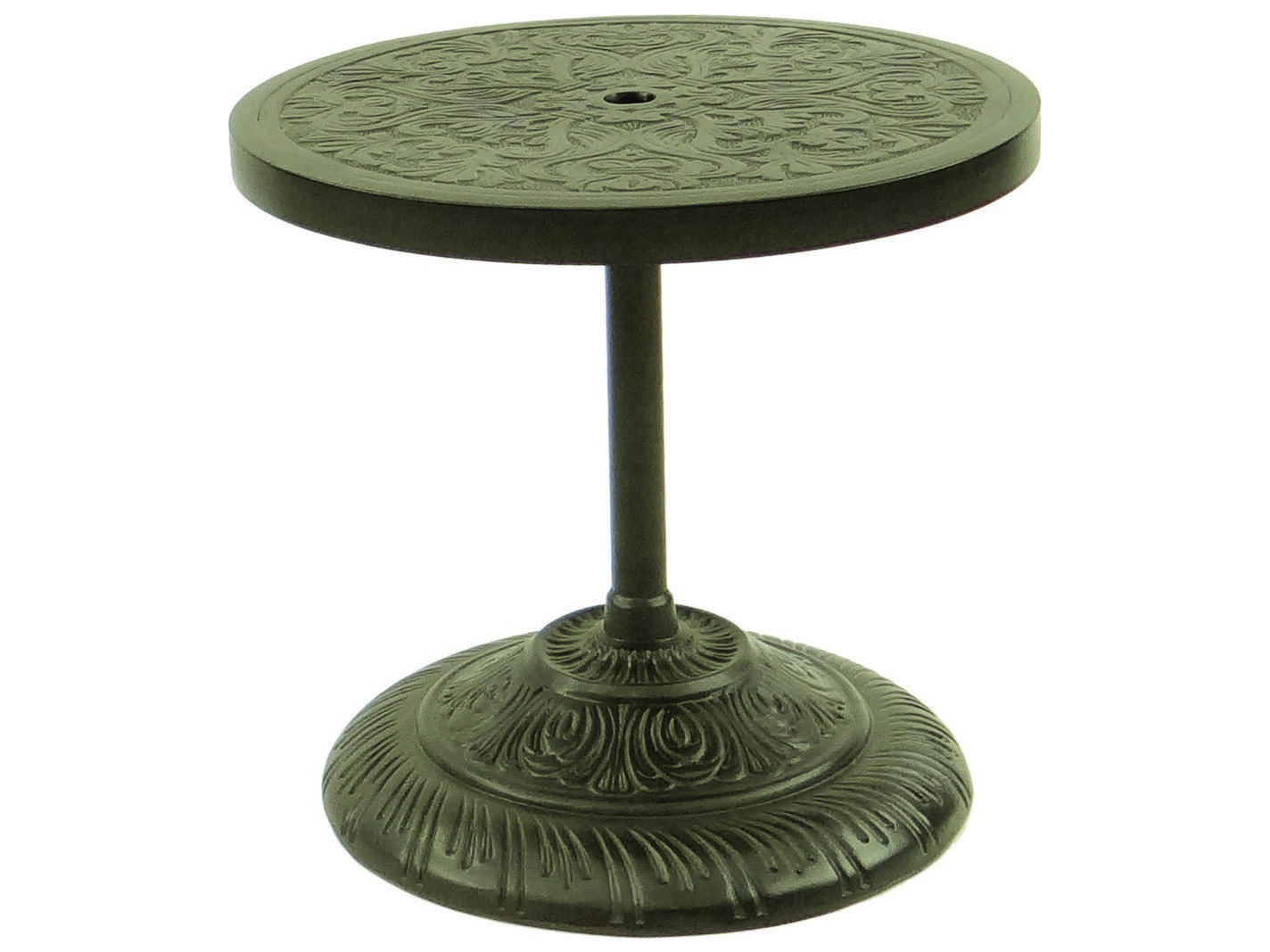 Castelle cast aluminum 24 round umbrella base side table for Side table base