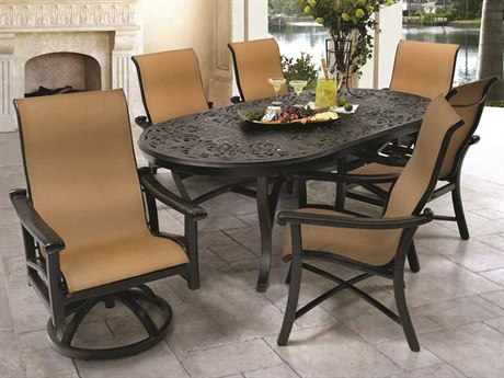 Castelle Chateau Sling Cast Aluminum Casual Dining Set