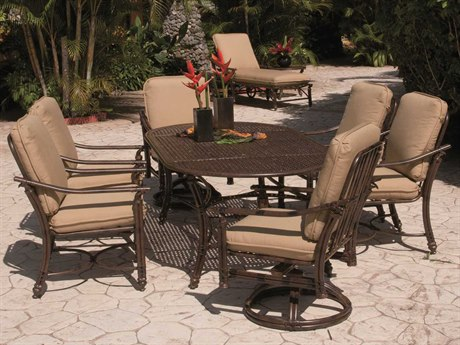 Castelle Coco Isle Cushion Aluminum Casual Dining Set