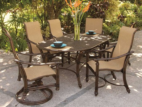 Castelle Coco Isle Sling Cast Aluminum Casual Dining Set
