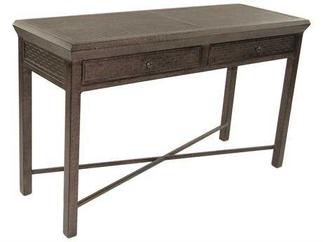 Castelle Classical Cast Aluminum 54-56W x 18-20D Rectangular Console Table with Drawers PatioLiving