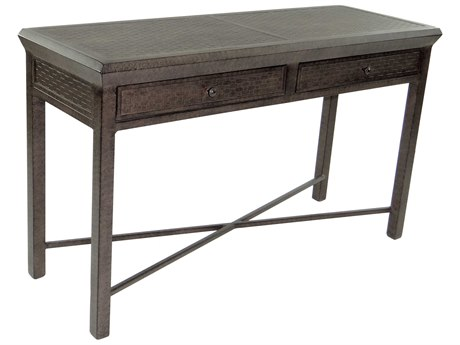 Castelle Classical Cast Aluminum 54-56W x 18-20D Rectangular Console Table with Drawers
