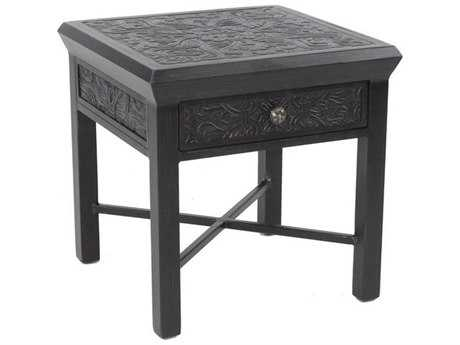 Castelle Classical Cast Aluminum 20W x 22W Square End Table with Drawer
