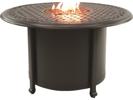 Castelle Vintage Cast Aluminum 38 Round Coffee Table with Firepit and Lid
