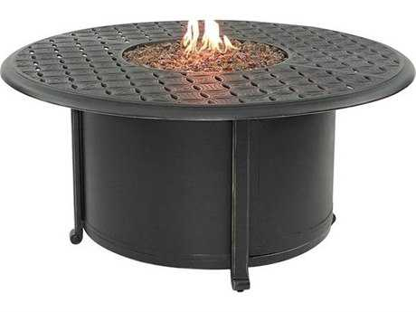 Castelle Sienna Cast Aluminum 48 Round Sienna Coffee Table With Firepit And  Lid