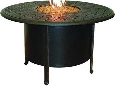 Castelle Sienna Cast Aluminum 48 Round Dining Table Firepit and Lid