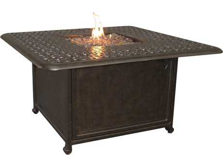 Castelle Sienna Cast Aluminum 42 Square Sienna Coffee Table with Firepit and Lid