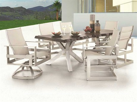Castelle Eclipse Sling Cast Aluminum Dining Set