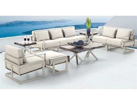 Castelle Eclipse Deep Seating Cast Aluminum Lounge Set PFECLPDSLNGSET1