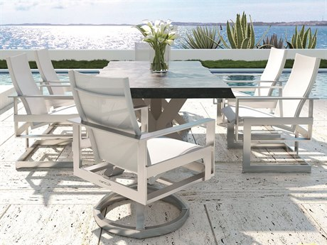 Castelle Eclipse Sling Dining Cast Aluminum Dining Set