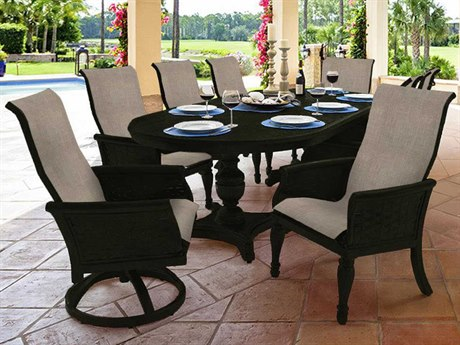 Castelle English Garden Sling Cast Aluminum Dining Set