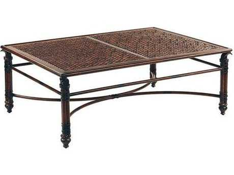 Castelle Coco Isle Cast Aluminum 48-50W x 32-34D Large Rectangular Coffee Table PFERC3248