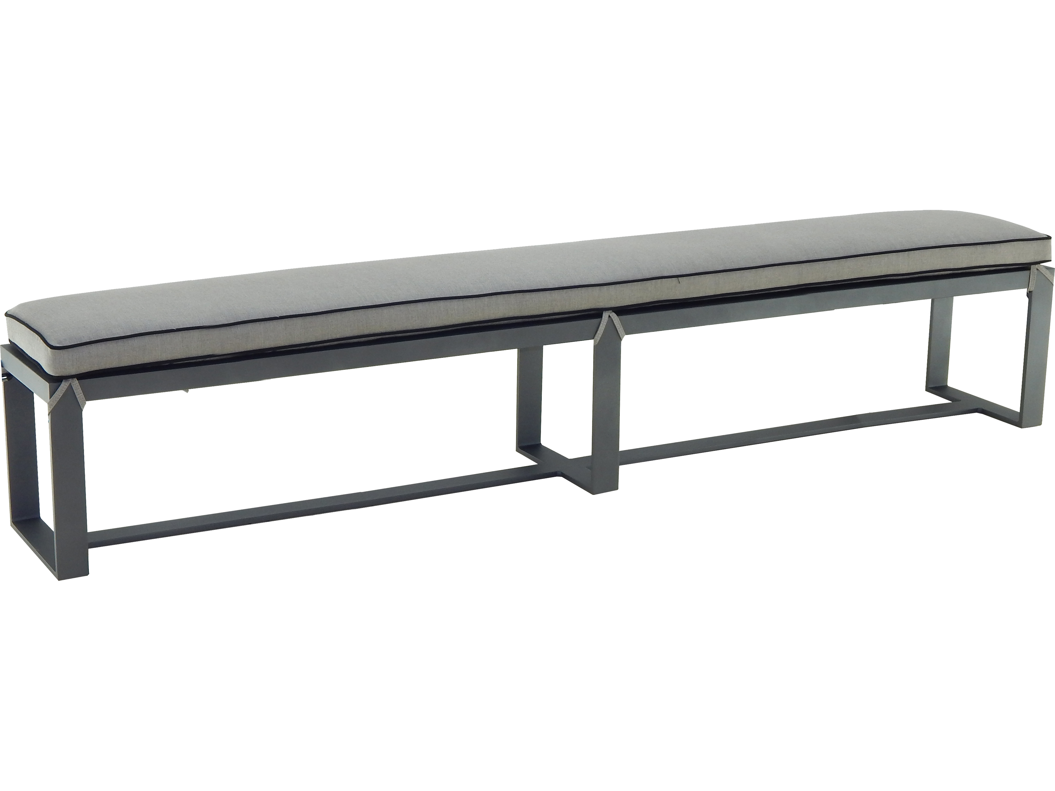 Castelle moderna cast aluminum bench with seat pad hrb108k for 108 table seats how many