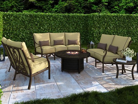 Castelle Madrid Deep Seating Cast Aluminum Firepit Curved Lounge Set