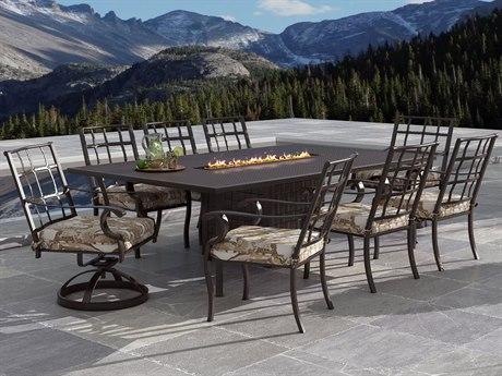 Castelle Monterey Cast Aluminum Fire Pit Dining Set