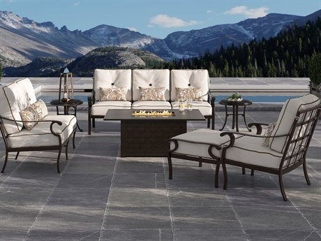 Castelle Monterey Deep Seating Cast Aluminum Fire Pit Lounge Set