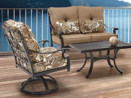 Castelle Monterey Cushion Cast Aluminum Conversation Lounge Set