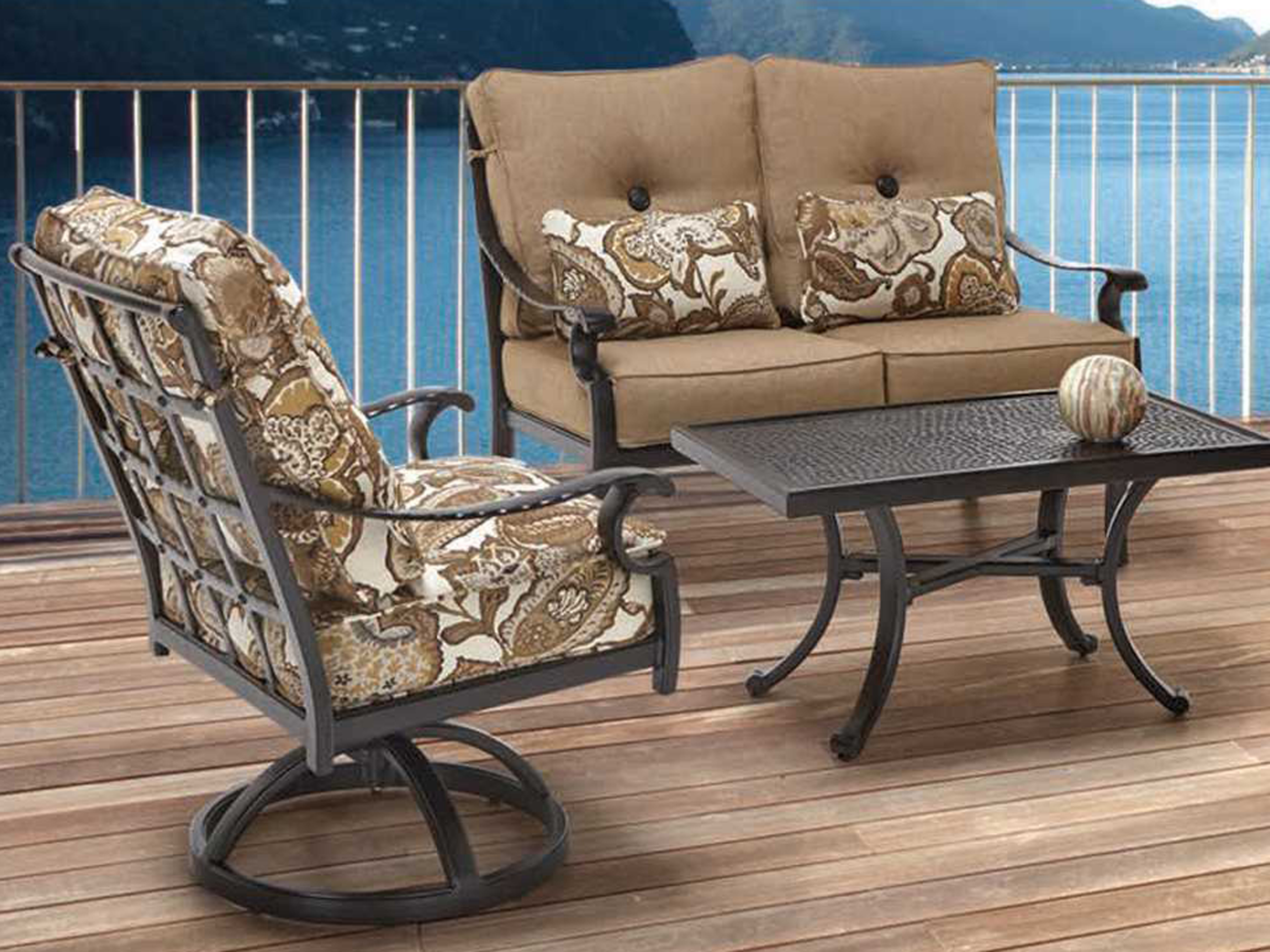 Castelle Monterey Deep Seating Cast Aluminum Loveseat With