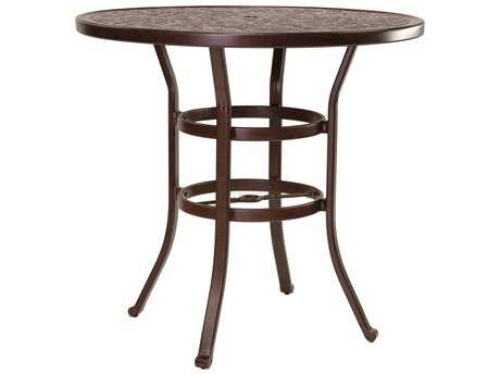 Castelle Vintage Cast Aluminum 42 - 44 Round Bar Height Table Ready to Assemble