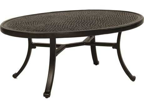 Castelle Vintage Cast Aluminum 48-49.5W x 32-34D Elliptical Coffee Table Ready to Assemble