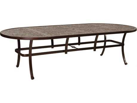 Castelle Vintage Cast Aluminum 108W x 48-49D Oval Dining Table Ready To Assemble
