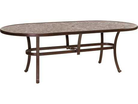 Castelle Vintage Cast Aluminum 84-86W x 44D Oval Dining Table Ready to Assemble