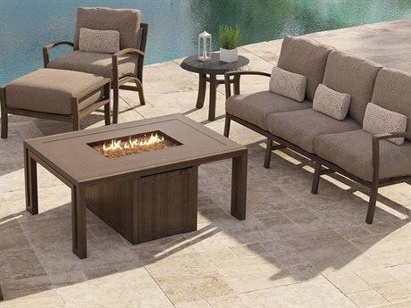 Castelle Napoli Deep Seating Cast Aluminum Fire Pit Lounge Set
